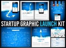 Kit graphique de démarrage de Lauch avec des pages Web d'atterrissage, couvertures de conception d'entreprise illustration de vecteur