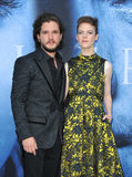 Kit Harington and Rose Leslie. At the HBO`s `Game Of Thrones` Season 7 premiere held at the Walt Disney Concert Hall in Los Angeles, USA on July 12, 2017 Royalty Free Stock Images