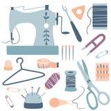 Kit Icons Set fait main : machine à coudre, ciseaux, fil, aiguilles illustration libre de droits