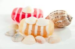 Kit, jabón y shelles del BALNEARIO Foto de archivo libre de regalías