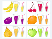 Kit  juice and fruits Royalty Free Stock Photo
