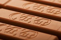 Kit Kat broken chocolate bar. SAMARA, RUSSIA - January 6, 2018: Kit Kat broken chocolate bar. Kit Kat is a chocolate biscuit bar with logo as background Stock Images
