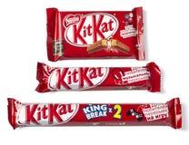 Kit Kat serie för de som som som bryter godischoklad Arkivbilder