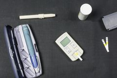 Kit for measuring blood sugar and injecting insulin. stock image