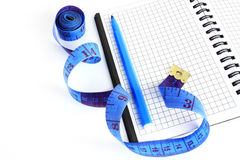 Kit for measuring the dimensions. Necessary tools for measuring the size Stock Image