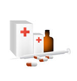 Kit of medicines vector. Vectored illustration of medicine boxes and flask, with pills and syringe Royalty Free Stock Photos