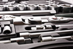 Kit of metallic tools Stock Image