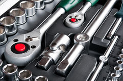 Kit of metallic tools Stock Images