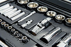 Kit of metallic tools as background Stock Photography