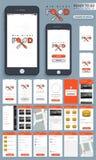 Kit mobile d'interface utilisateurs d'Apps de mi nourriture de nuit Photographie stock libre de droits