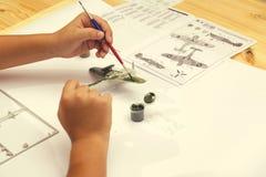 Kit modèle en plastique de peinture de garçon de l'avion 2 des avions ww2 Photo stock