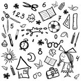 Kit of monochrome children and school sketches Royalty Free Stock Photo