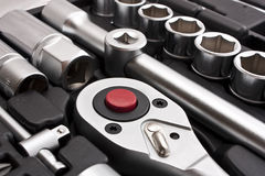 Kit Of Metallic Tools Royalty Free Stock Photography