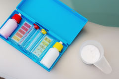 Kit of Ph chlorine and bromide test for water quality test of ja. Cuzzi or pool Royalty Free Stock Photography