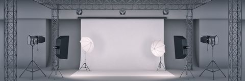 Photo studio. 3d rendering stock illustration