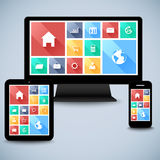 Kit plat moderne d'interface utilisateurs dans l'ordinateur, mobile, calibre de comprimé Images stock