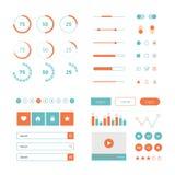 Kit plat moderne de vecteur de conception d'UI dans la couleur à la mode avec le téléphone portable simple, les boutons, les form Photo libre de droits