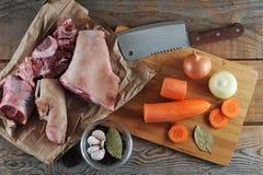 Kit pour la préparation de la gelée - jambes de porc, jambes de porc, carro Photographie stock