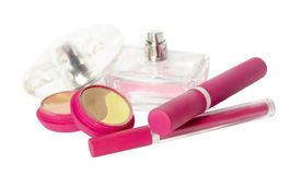 Kit rosado de los cosméticos fotos de archivo libres de regalías