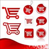 Kit rosso di disegno del carrello di acquisto Fotografia Stock