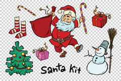 Kit Santa set Christmas New year items and characters Royalty Free Stock Photos