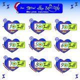 Kit set for sale at a discount. New year and Christmas. Numbers. Interest. Big sale. Benefit. The joy and gifts Royalty Free Stock Image