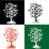 Kit with snowflakes trees Royalty Free Stock Photos