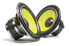 Kit of sound speakers. On white background Stock Images