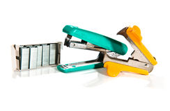 Kit of stapler, staple remover and brackets Royalty Free Stock Photo