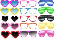 Kit sunglasses, realistic illustration, Seth. Multi-colored sunglasses isolated on white background. Set of modern sunglasses, realistic illustration, summer Stock Image