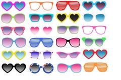 Kit sunglasses, realistic illustration, Seth. Multi-colored sunglasses isolated on white background. Set of modern sunglasses, realistic illustration, summer Royalty Free Stock Image