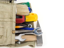 Kit of tools and bag on white Stock Photography