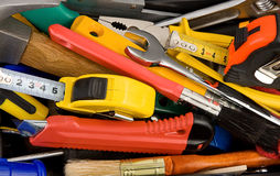 Kit of tools and instruments in box Stock Images