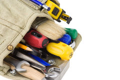 Kit of tools on white Royalty Free Stock Images