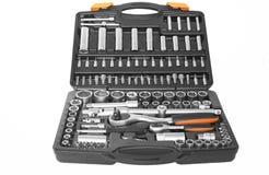 Tools. Automotive garage socket kit isolated on a white background Royalty Free Stock Image