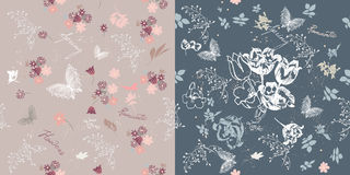 Kit from two vector seamless patterns in floral style for design Royalty Free Stock Images