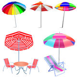 Kit umbrella beach with chairs and table Royalty Free Stock Images