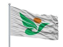 Kitaakita miasta flaga Na Flagpole, Japonia, Akita prefektura, Odizolowywająca Na Białym tle ilustracji