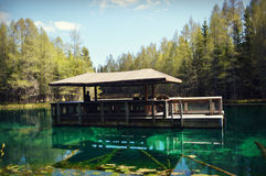 Kitch-iti-kipi Raft. Kitch-iti-kipi is Michigan's largest natural freshwater spring. Sometimes referred to as The Big Spring. Its original name was the Mirror of Stock Photography