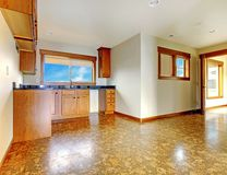 Kitche pequeno no matriz-em-baixo apartamento. Interior home luxuoso novo. Imagem de Stock