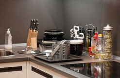 Kitchen. Corner - utensil; cooking plate etc royalty free stock image
