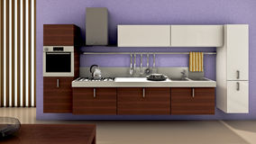 Kitchen. A modern kitchen interior. Made in 3d Stock Image