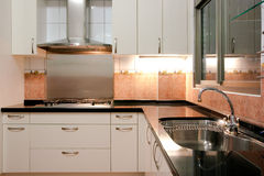 Kitchen. Stove, sink and countertop in the kitchen Stock Images
