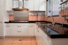 Kitchen. Stove, sink and countertop in the kitchen Royalty Free Stock Photo