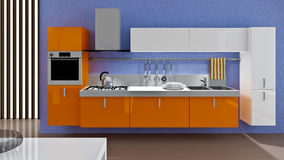 Kitchen. A modern kitchen interior. Made in 3d Stock Images