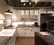 Kitchen. Modern kitchen designed in black and white Stock Photo