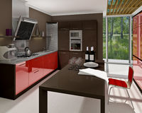 Kitchen. A modern kitchen interior. Made in 3d Royalty Free Stock Photo