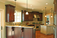 Kitchen. With stainless steel appliances and dark cabinets royalty free stock photos