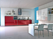 Kitchen. Modern kitchen interior. Made in 3d Royalty Free Stock Image