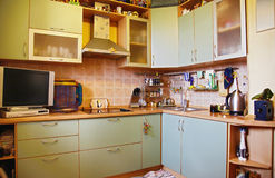 Kitchen. Cosy kitchen with pleasant design royalty free stock photos
